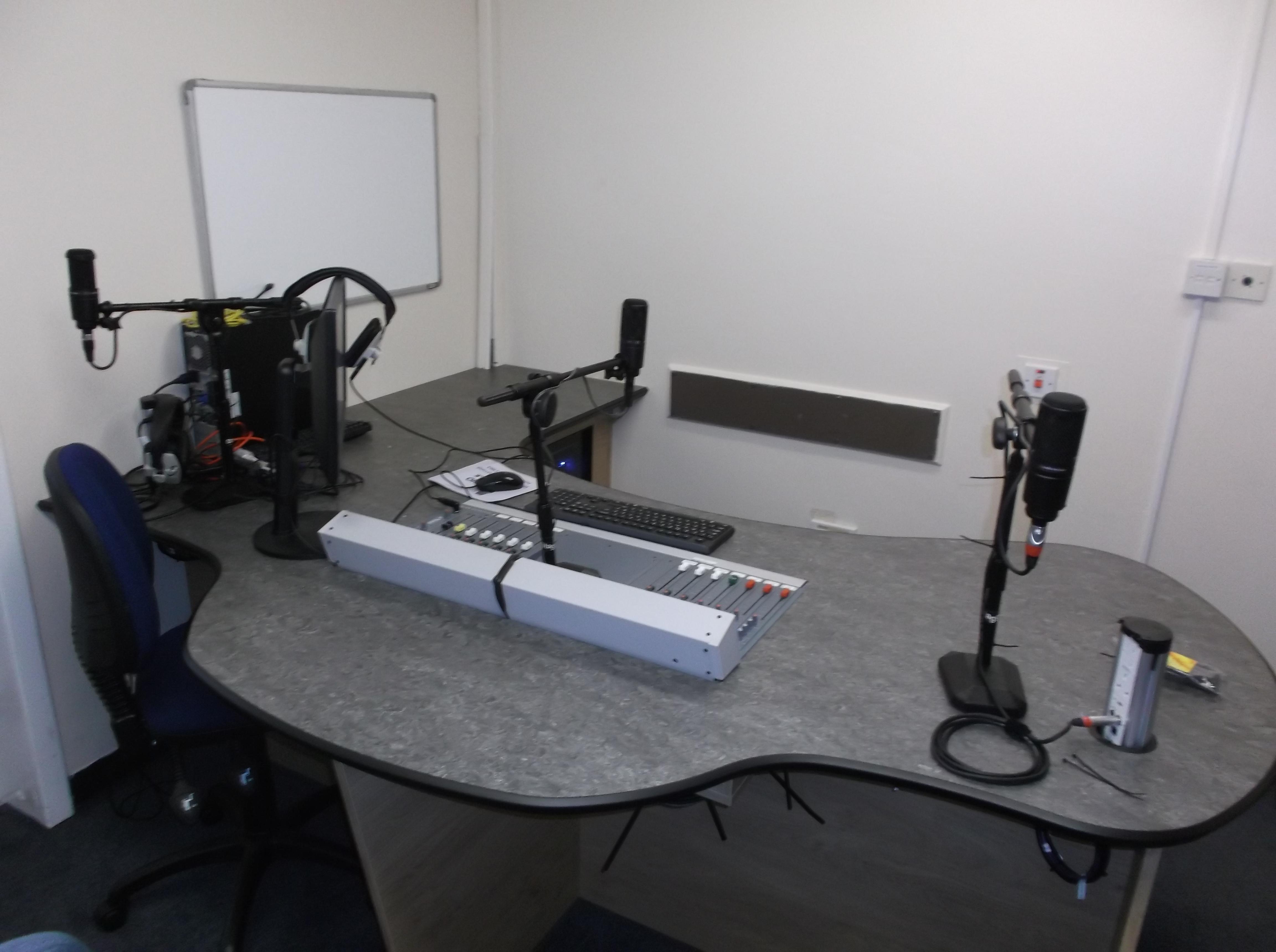 Studio 1 Desktop Overview - Showing New Temporary Mic Stands